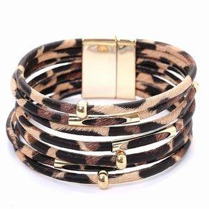 Leopard Multilayer Wide Wrap Corded Bracelet
